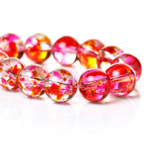 1 Strand (Approx 82 PCs) Round Glass Beads, Multicolor Fancy Flower Pattern About 10mm Hole: 1.7mm,